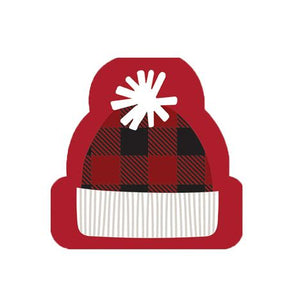 Harman Red Black Buffalo Check Winter Hat Shaped Bev Dessert Napkin 40 Ct