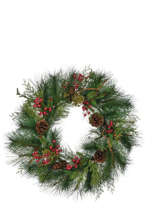 "Sullivans  Deluxe Sugar Pine with Pine Cones and Red Berries Christmas Winter Wreath-11.5"" Wide"