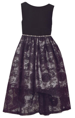 Bonnie Jean Sleeveless Black Dress with Velvet Bodice and Lace Overlay Hi-Low Skirt