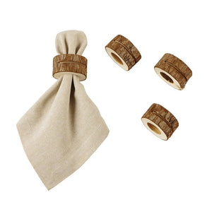 Mud Pie Home Lodge Rustic Wood Slice Cloth Napkin Placecard Holder Set of 4