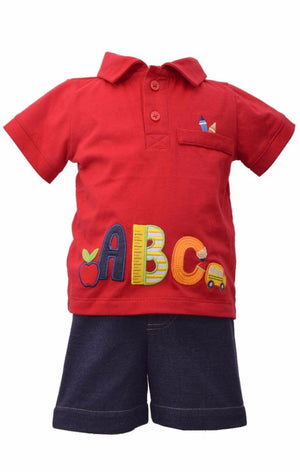 Bonnie Jean Boys BTS ABC Shorts Set Infant Toddler School 2 Pc