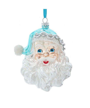 "5.5"" Pale Blue and Silver Glass Santa Christmas Ornament"