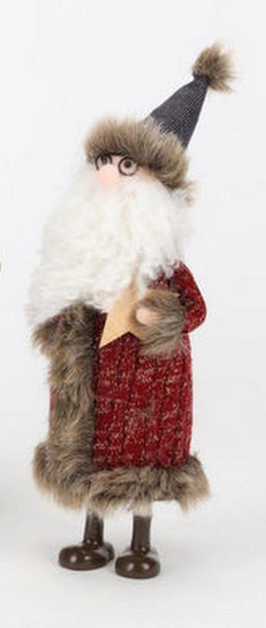 "180 Degrees 11"" Gnome Woodland Santa Coat with Star Christmas Village Figure"