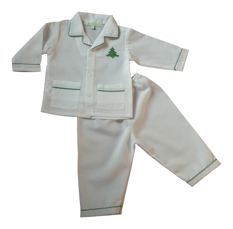 Sweet Dreams Christmas Tree Embroidered Boys 2 Piece Pajamas