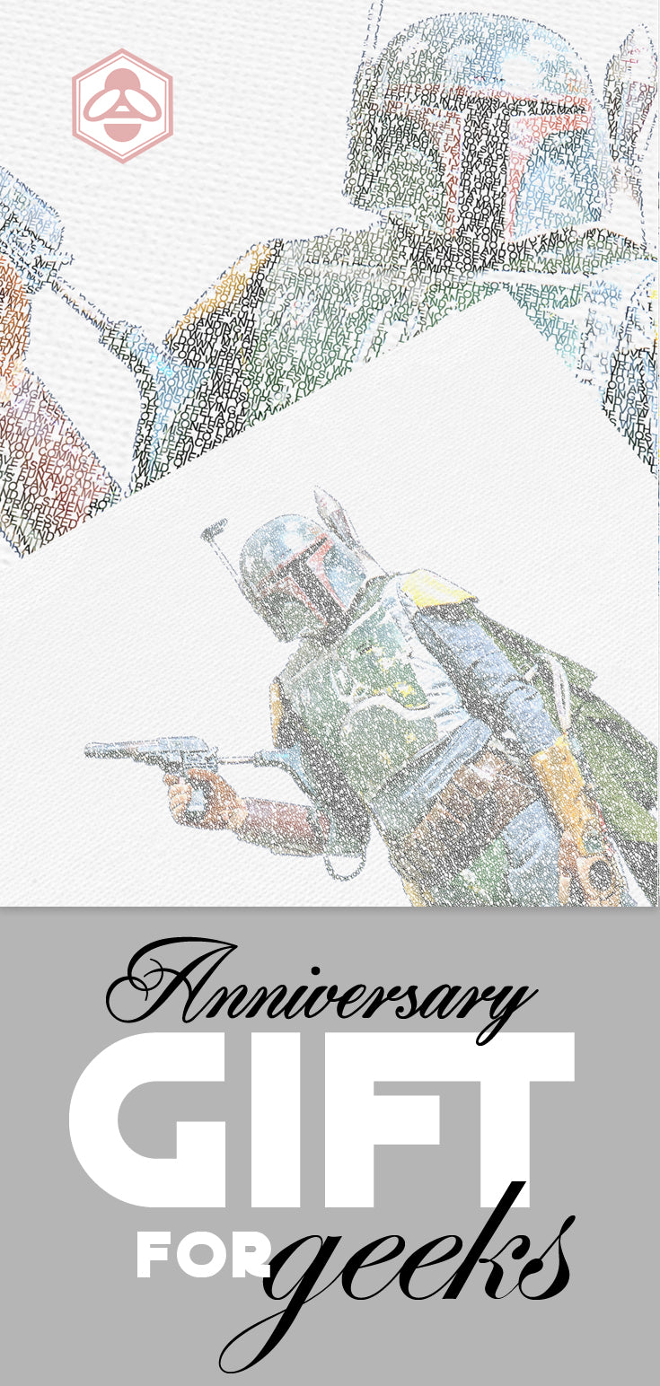 custom gifts for star wars fans; boba fett art; personalized star wars anniveresary gifts