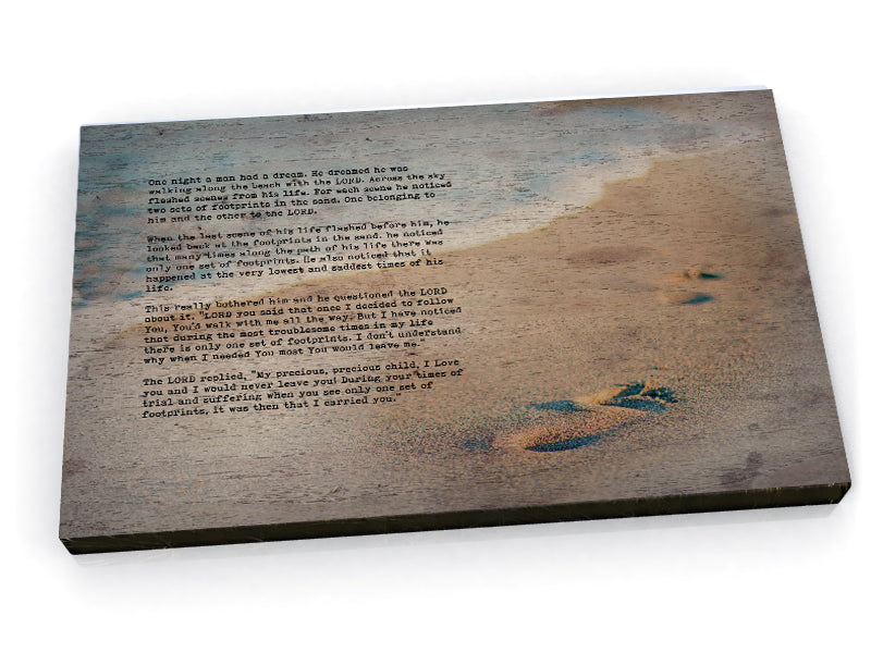 Wood Inspired Scripture Art: Footprints in the Sand - Hunnycomb Proverbs - Wedding gift ideas - paper anniversary gifts