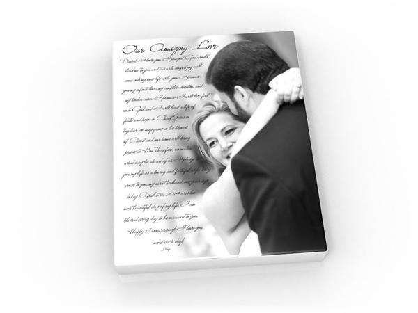 11x14 Vows & Photo Canvas - Fine art and canvas personalized anniversary and inspirational gifts