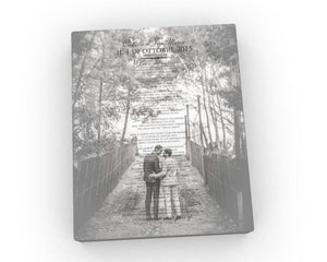 12x18 Photos with Vows on Canvas - Fine art and canvas personalized anniversary and inspirational gifts
