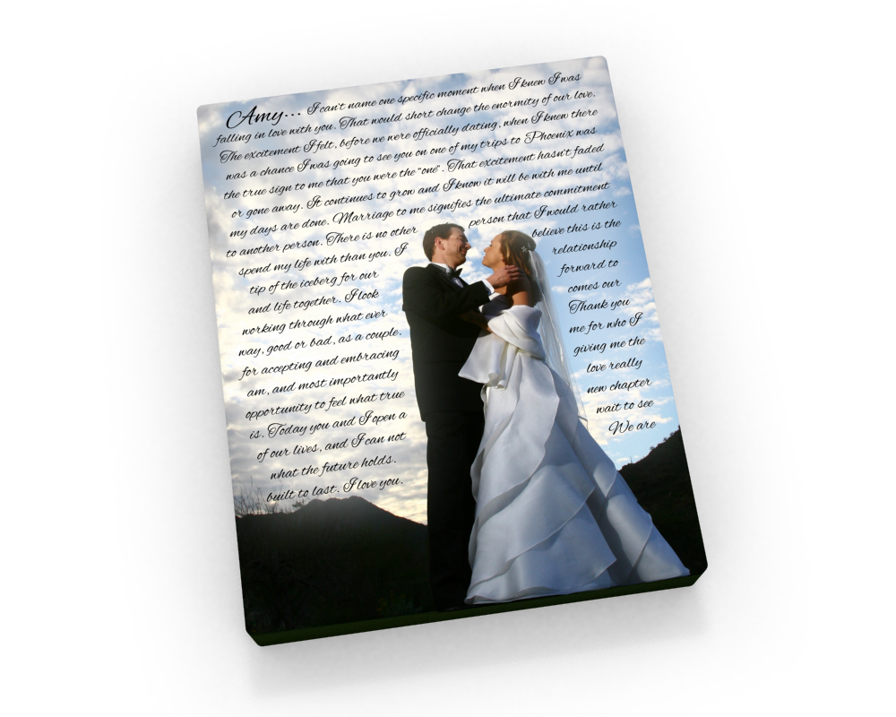 Wedding Canvas wiith Words - Fine art and canvas personalized anniversary and inspirational gifts