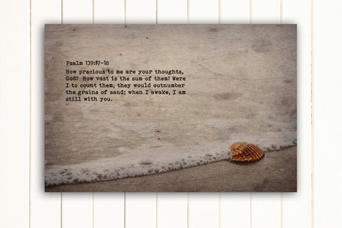 Wood Inspired Scripture Art: Psalm 139:17-18 on Canvas - Hunnycomb Proverbs - Wedding gift ideas - paper anniversary gifts