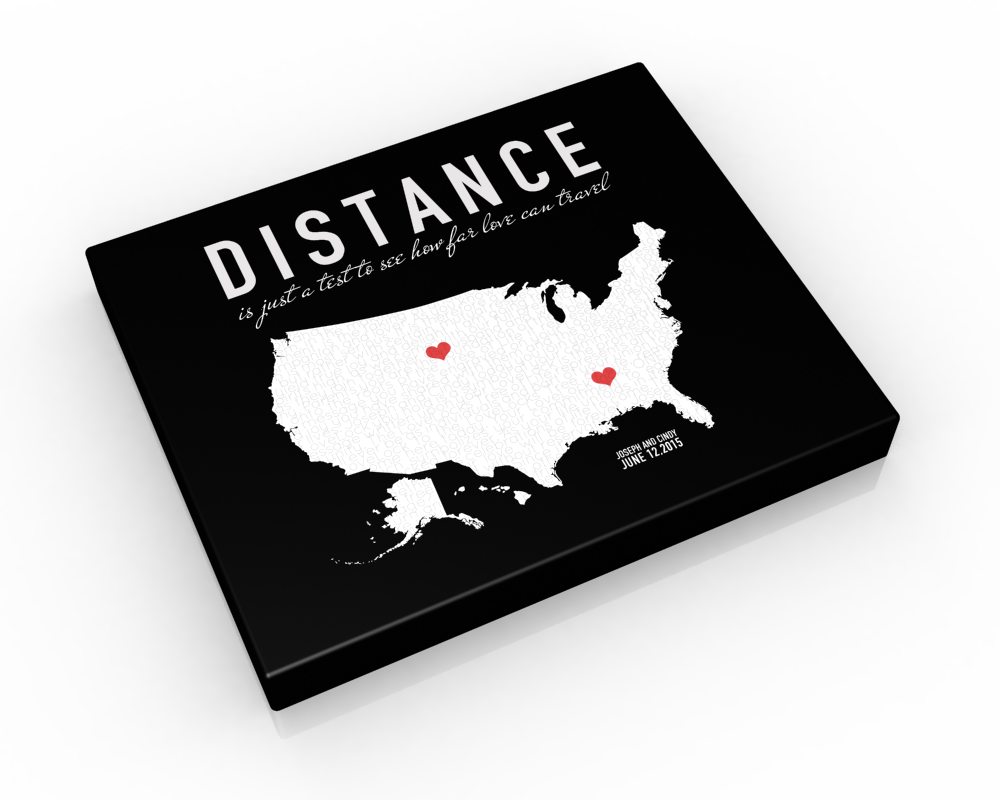 Custom Long Distance Couples Canvas: Love Letter US Map - Fine art and canvas personalized anniversary and inspirational gifts