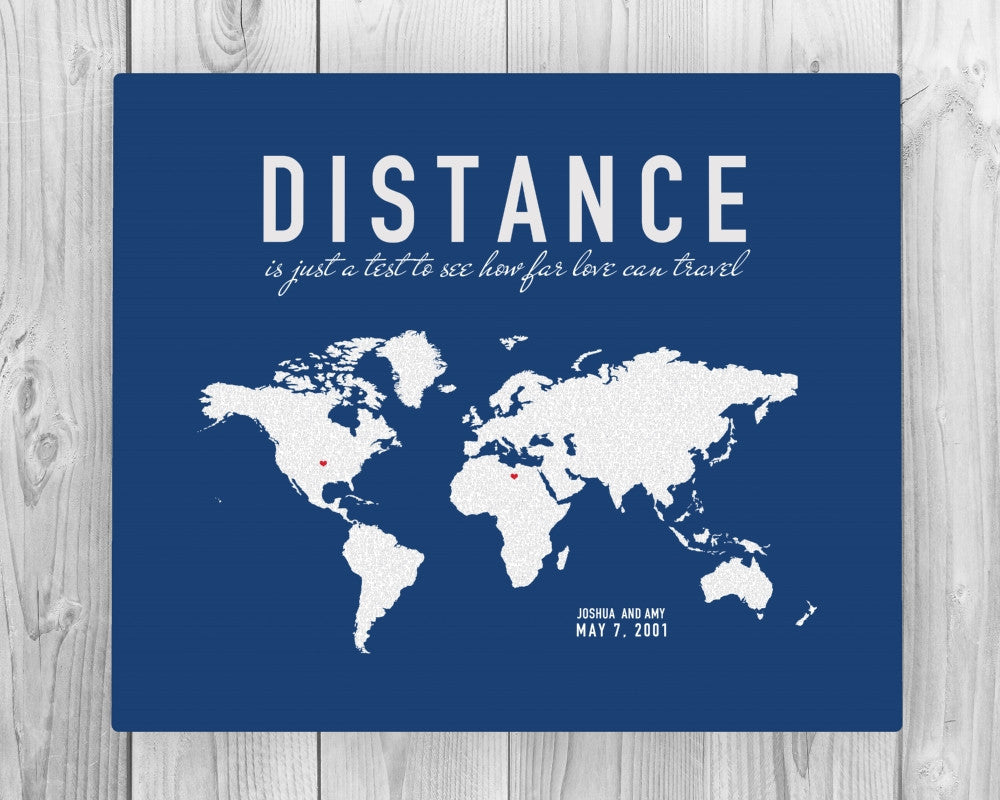 Custom Long Distance Couples Canvas: Love Letter World Map - Fine art and canvas personalized anniversary and inspirational gifts