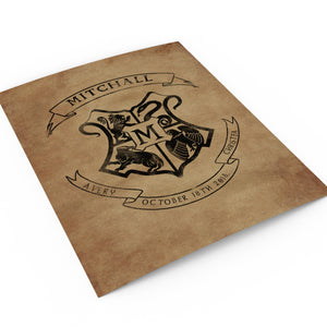 School of Wizardry Inspired Family Crest Print - Hunnycomb Proverbs - Wedding gift ideas - paper anniversary gifts