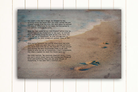 Wood Inspired Scripture Art: Footprints in the Sand