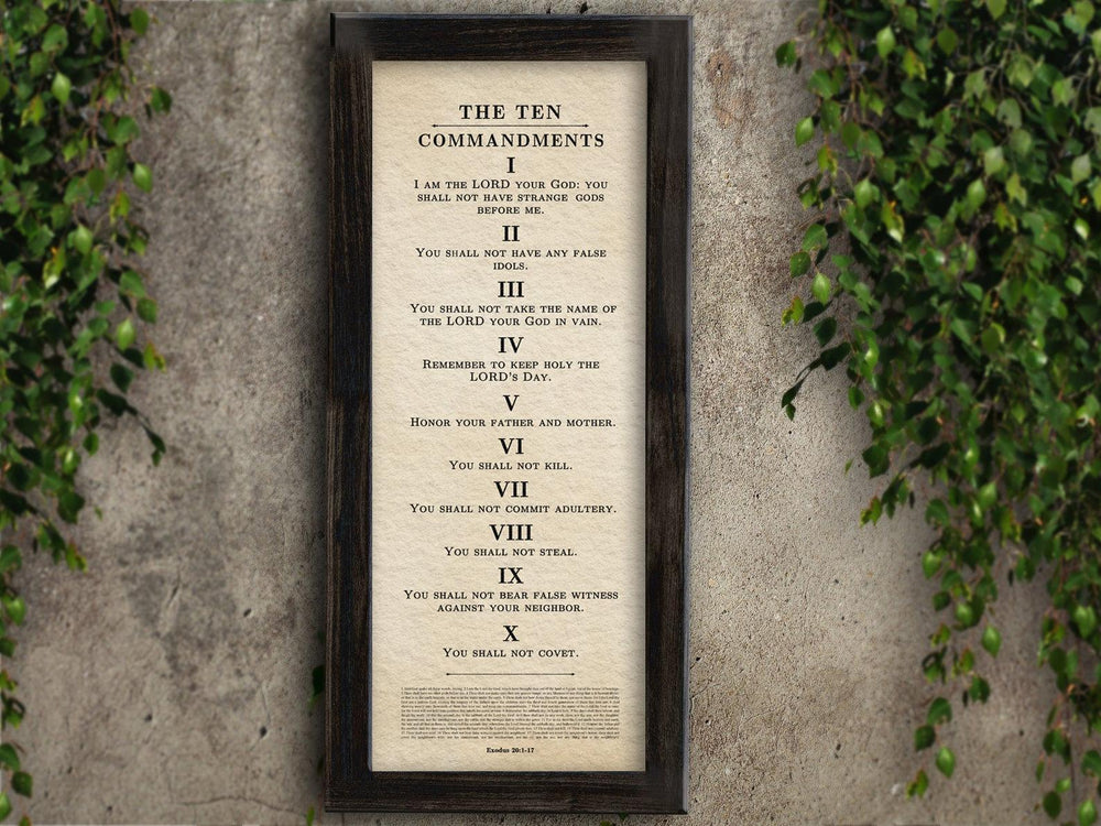 Framed Ten Commandments Parchment Wall Art