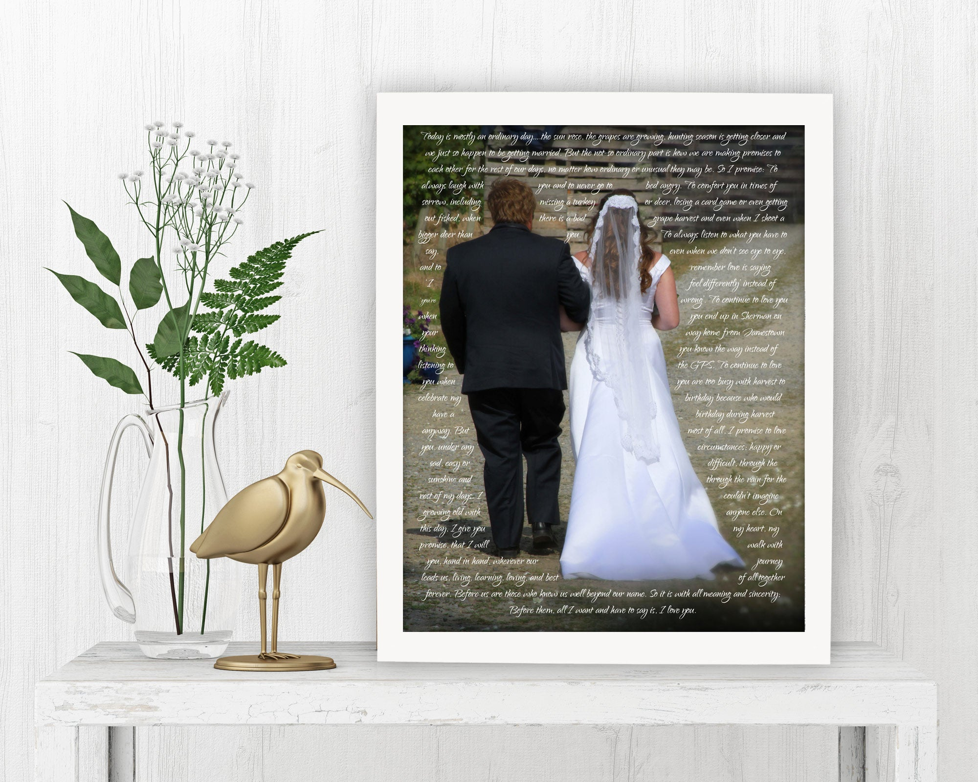 Framed Vows with Photo - Fine art and canvas personalized anniversary and inspirational gifts