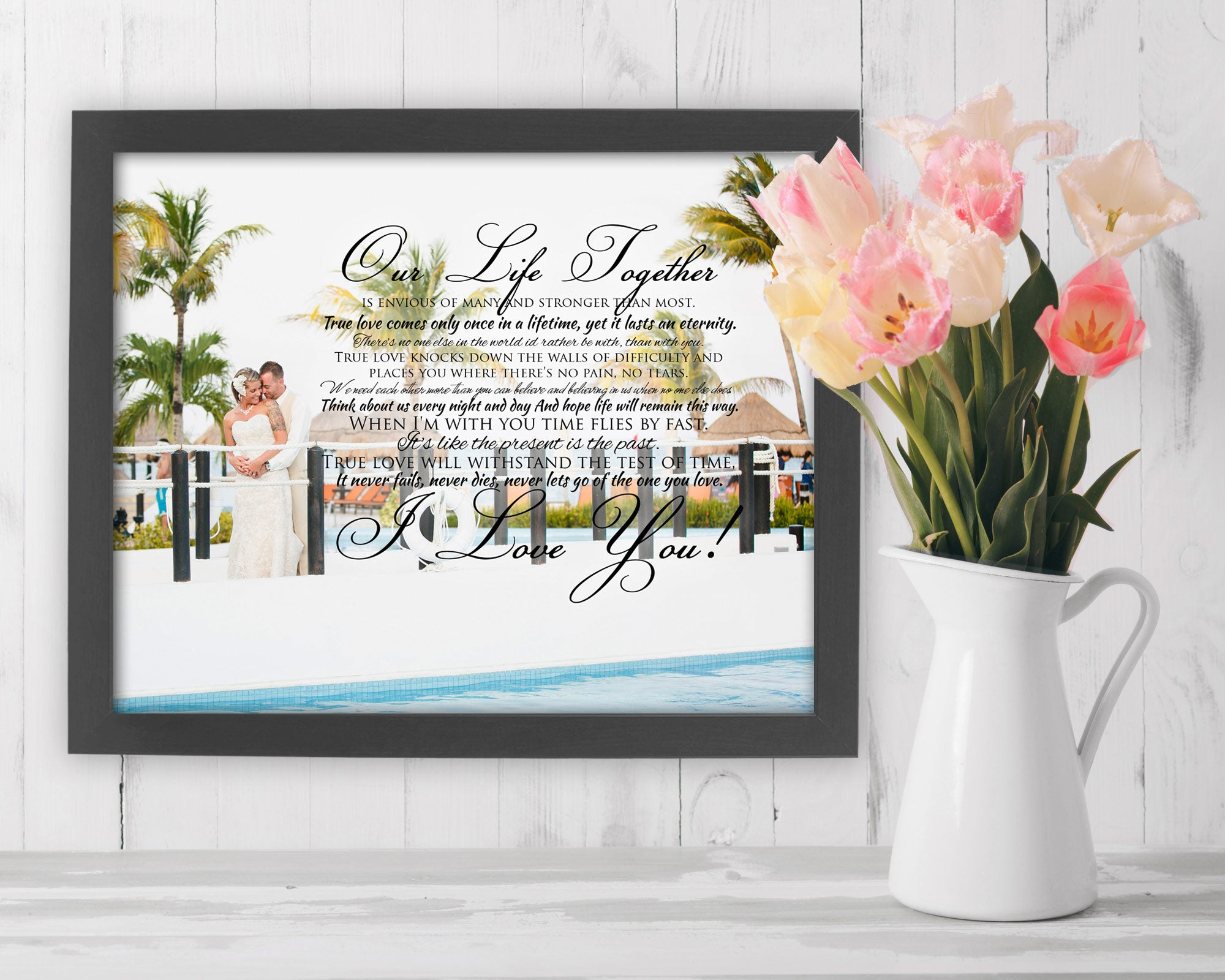 Framed Wedding Vow Photo - Fine art and canvas personalized anniversary and inspirational gifts