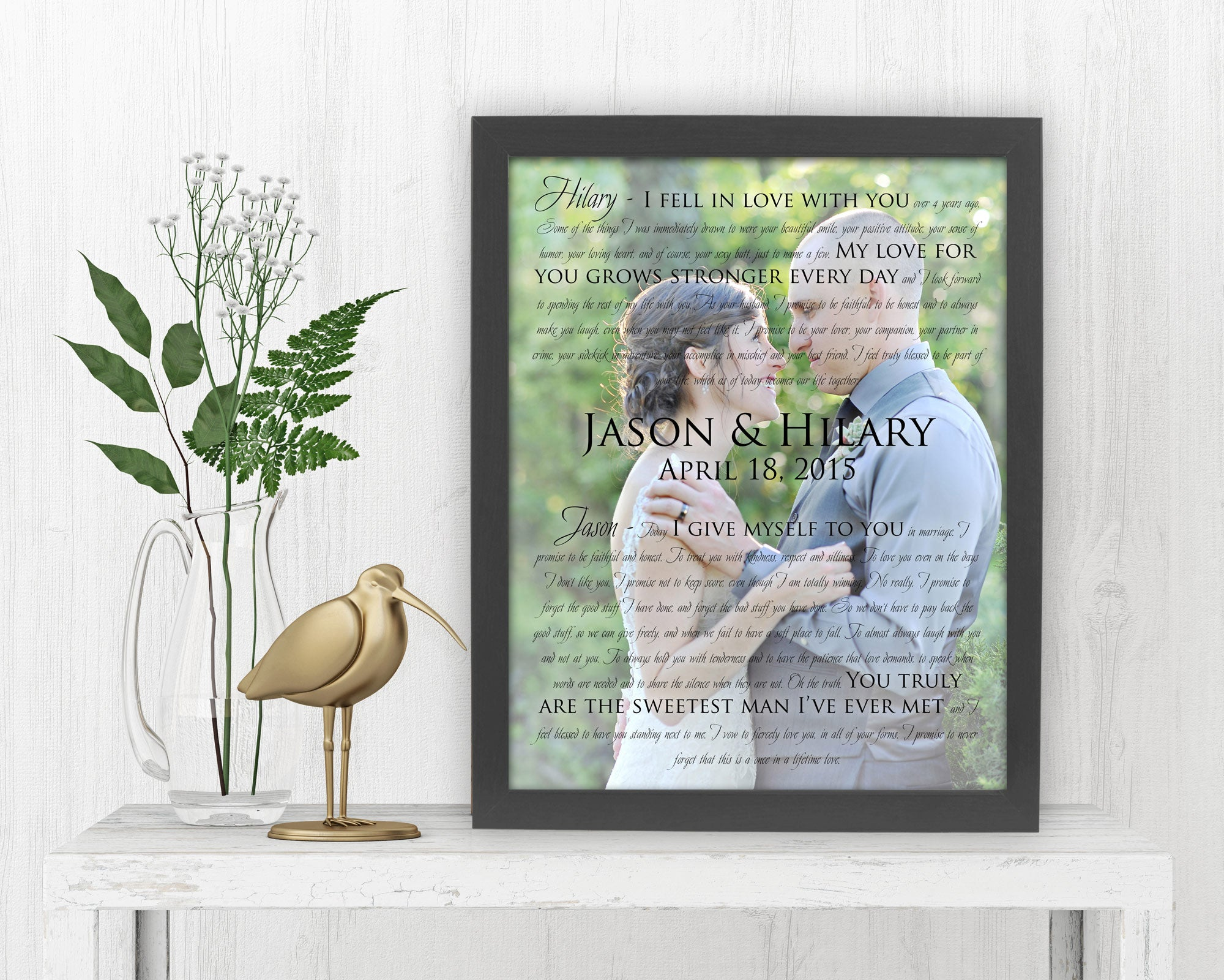 Framed Photo with Song Lyrics - Fine art and canvas personalized anniversary and inspirational gifts