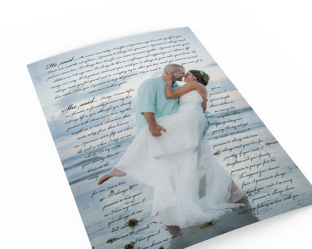 Printed Vows with Wedding Photo - Fine art and canvas personalized anniversary and inspirational gifts