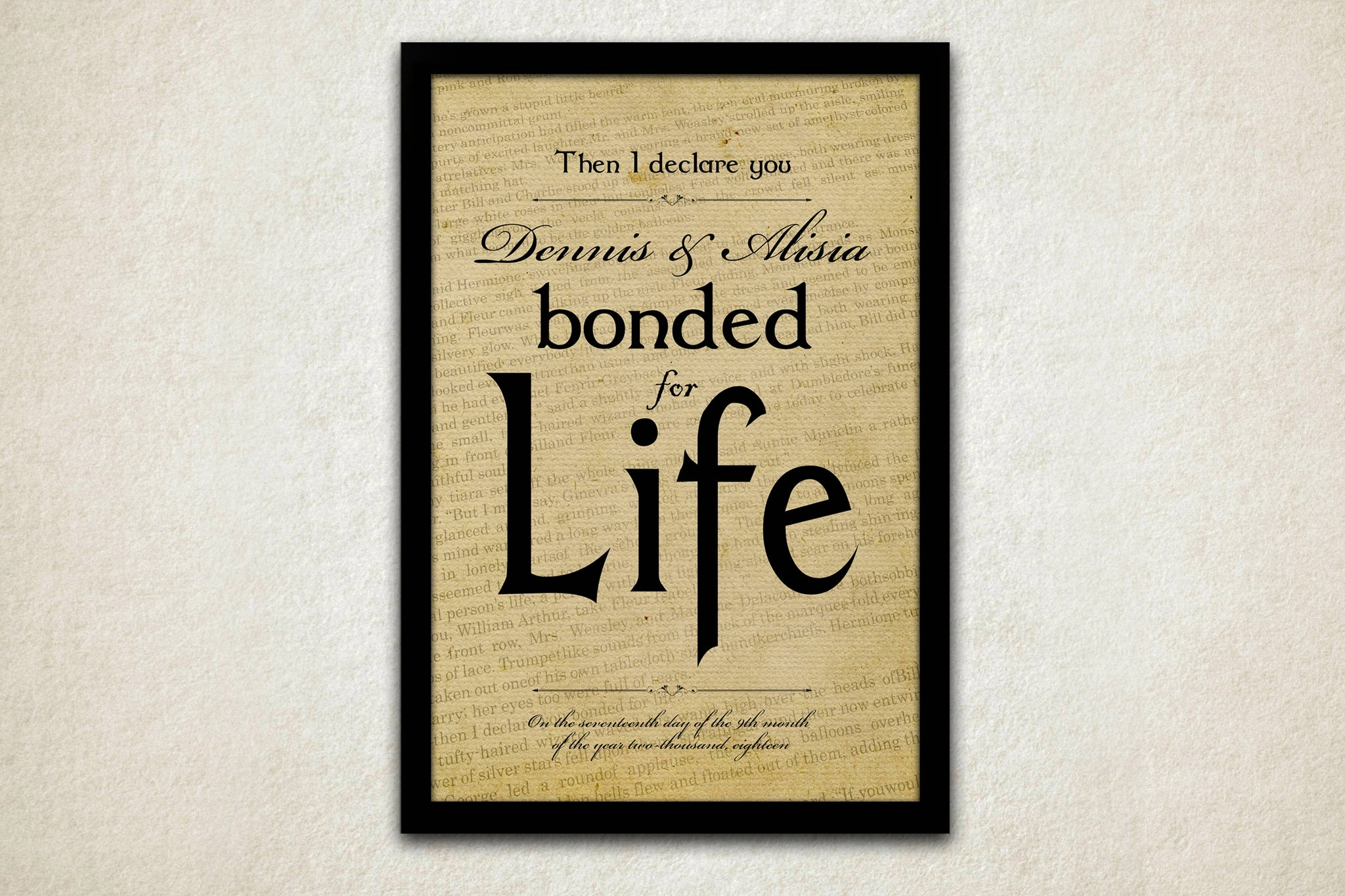 Romantic Art Print: Then I Declare you Bonded for Life - Hunnycomb Proverbs - Wedding gift ideas - paper anniversary gifts