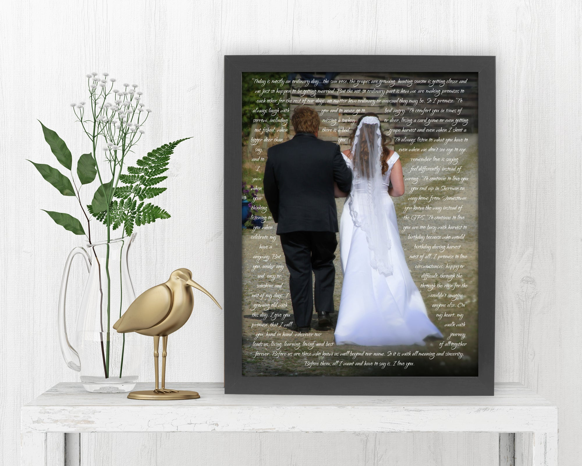 Wedding Vows around Couple - Fine art and canvas personalized anniversary and inspirational gifts