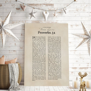Personalized Proverbs 31 Canvas Wall Art - Hunnycomb Proverbs - Wedding gift ideas - paper anniversary gifts