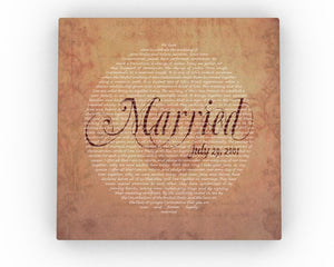 Vintage Personalized Wedding Art - Fine art and canvas personalized anniversary and inspirational gifts