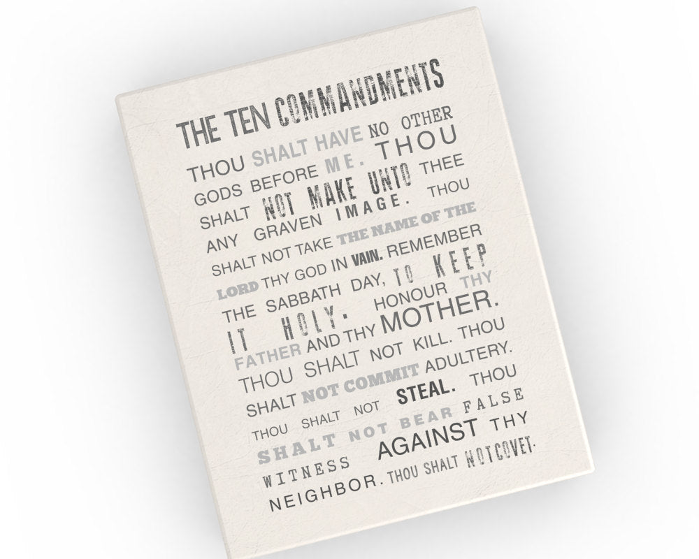 The ten Commandments, Canvas, 10 commandments, christian, religious, Subway, sign, scripture,  poster, print, grunge, scripture canvas