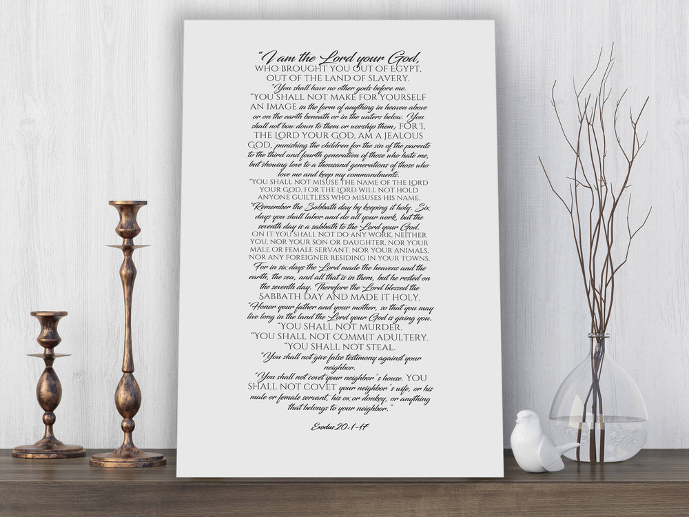Canvas Scripture Print, the ten commandments, 10 commandments, gift, contemporary bible verse art, Exodus 20, gift, church decor, pastor