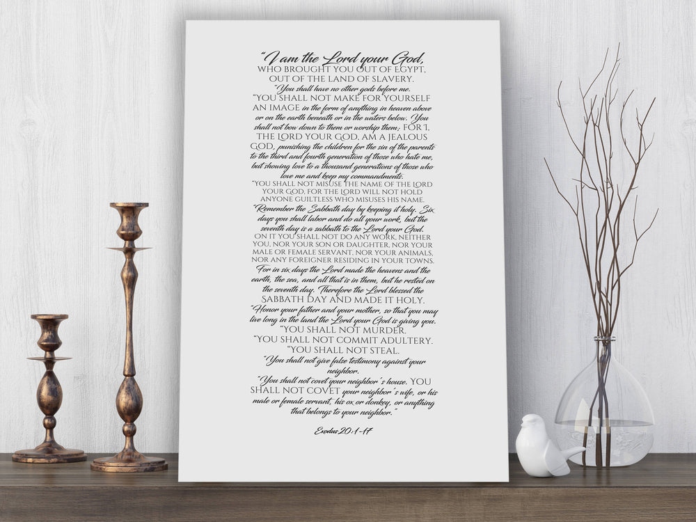Canvas Scripture Print, the ten commandments, 10 commandments, gift, contemporary bible verse art, Exodus 20, gift, church decor, pastor - Fine art and canvas personalized anniversary and inspirational gifts