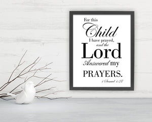 Scripture about children on fine art, gift for new mother,  Bible verse art for nursery, Scripture Print 8x10, parent gift, 1 Samuel 1:27