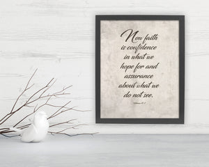 Hebrews 11:1, Framed Scripture print, bible verse print, faith, Fine art prints, christian decor, bible verses, gift, pastor, teacher
