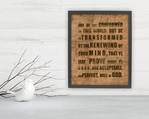 Romans 12:2 Grunge Fine Art - Fine art and canvas personalized anniversary and inspirational gifts
