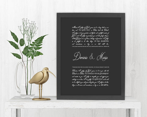 Modern Fairytale: Framed Wedding Vows - Fine art and canvas personalized anniversary and inspirational gifts