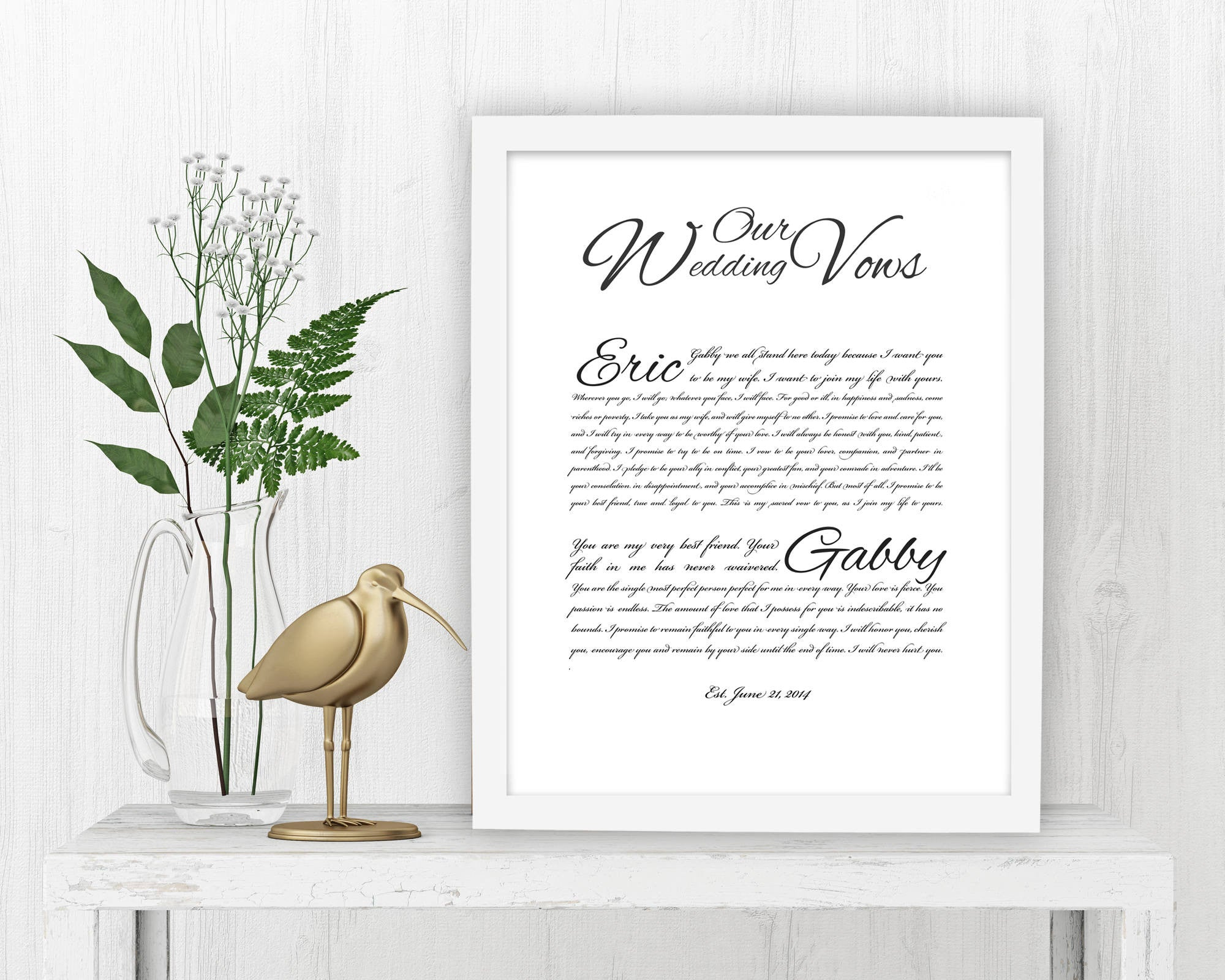Wedding Vow Art: Snow White - Fine art and canvas personalized anniversary and inspirational gifts