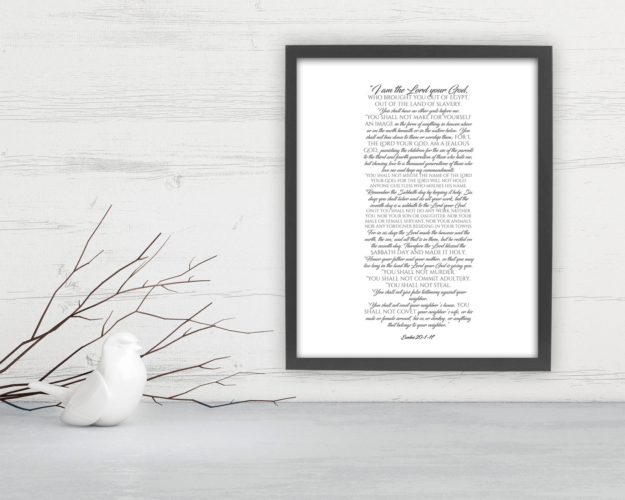 10 Commandments, Framed Scripture Print, Bible Verse Print, The ten commandments, gift, christian decor, Exodus 20, print, preacher gift