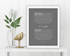 Personalized Framed Wedding Vows - Fine art and canvas personalized anniversary and inspirational gifts