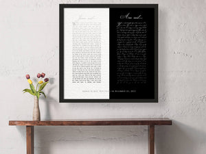Wedding Vows on Canvas, Framed Vows, Print, Gift for him, Anniversary, Personalized, Wedding Vow art, paper, first, husband, bedroom decor