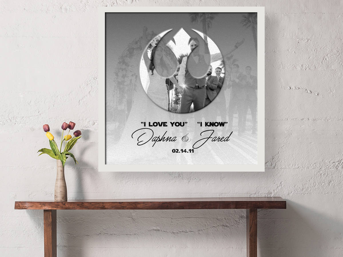 First Anniversary, gift, man-cave, husband, wedding vow photo, Print, star wars, inspired, han and leia, Wedding Vow art, paper, rebellion