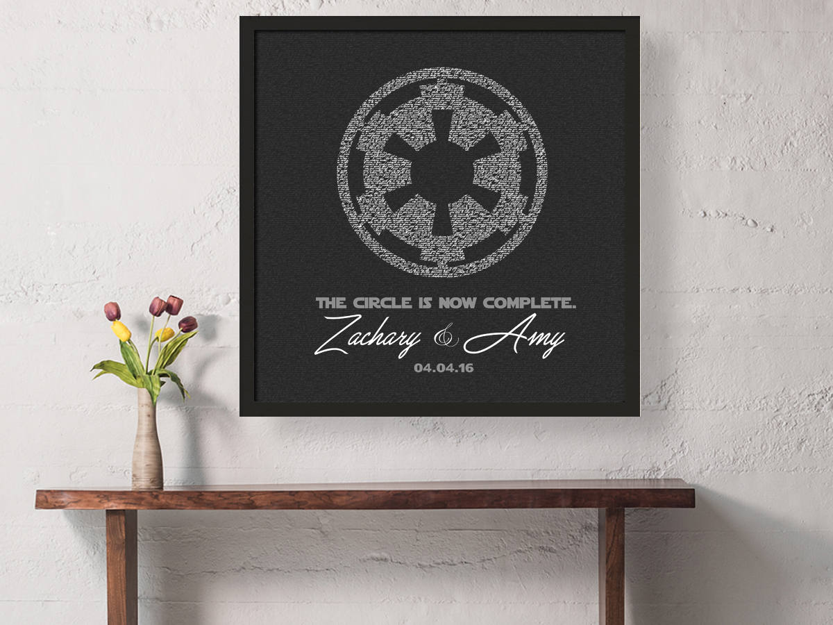 Groom gift, anniversary, gift, for husband, Framed Imperial Vows, Print, star wars inspired, Personalized, Wedding Vow art, paper