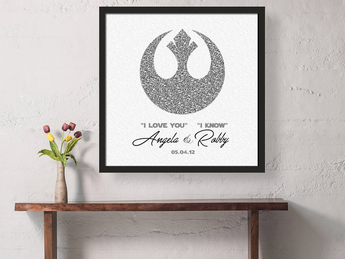 Groom gift, anniversary, gift, for husband, Framed Vows, Print, star wars inspired, Personalized, Wedding Vow art, paper, rebel, rebellion