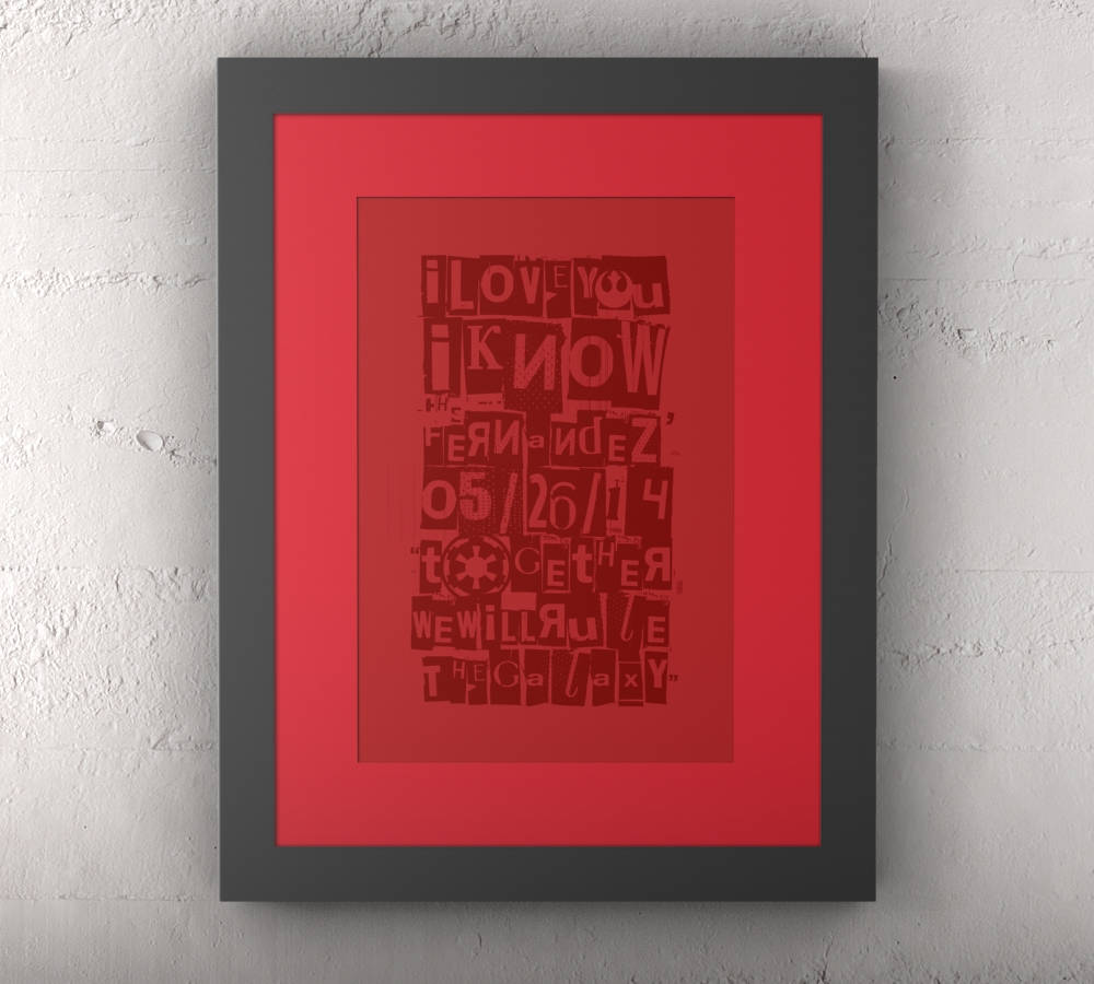 Wedding, Gift, Star Wars, Word art, anniversay, Husband, Paper, Wedding, Canvas, 1st year, for him, Framed, Wall decor, starwars, print