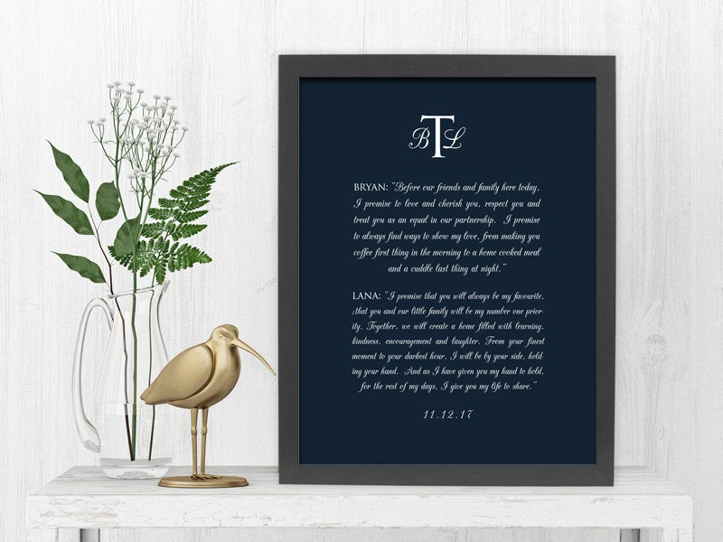Monogrammed Wedding Vow Art, Framed Wedding Vows, Canvas with Wedding Vows, Anniversary Gift for 1st Year, Personalized His and Her Gift