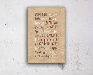 1 Timothy 4 12, Harry, customize, Scripture, kids, for, wall, art, gift, Bible verse, prints, Scriptures, canvas, Framed, gifts, Christmas