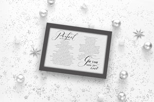 1st, Christmas, Gift, Wedding Song, First, Dance, Lyrics, framed, print, anniversary, gift, for, wife, husband, him, her, couples, gifts