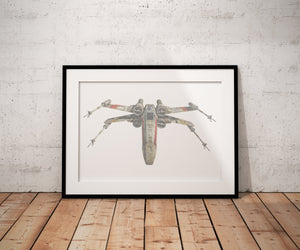 X Wing Fighter, Wedding vows, Star Wars, inspired, 1st Anniversary, Custom, Print, Calligram, Words, gift, for him, husband, framed, paper