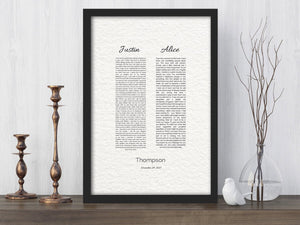 His and Her, Wedding Vow Print, 1st year Anniversary Gift, Art, Canvas, Framed, Vows, Anniversary, Paper, Printed, Christmas gift, husband