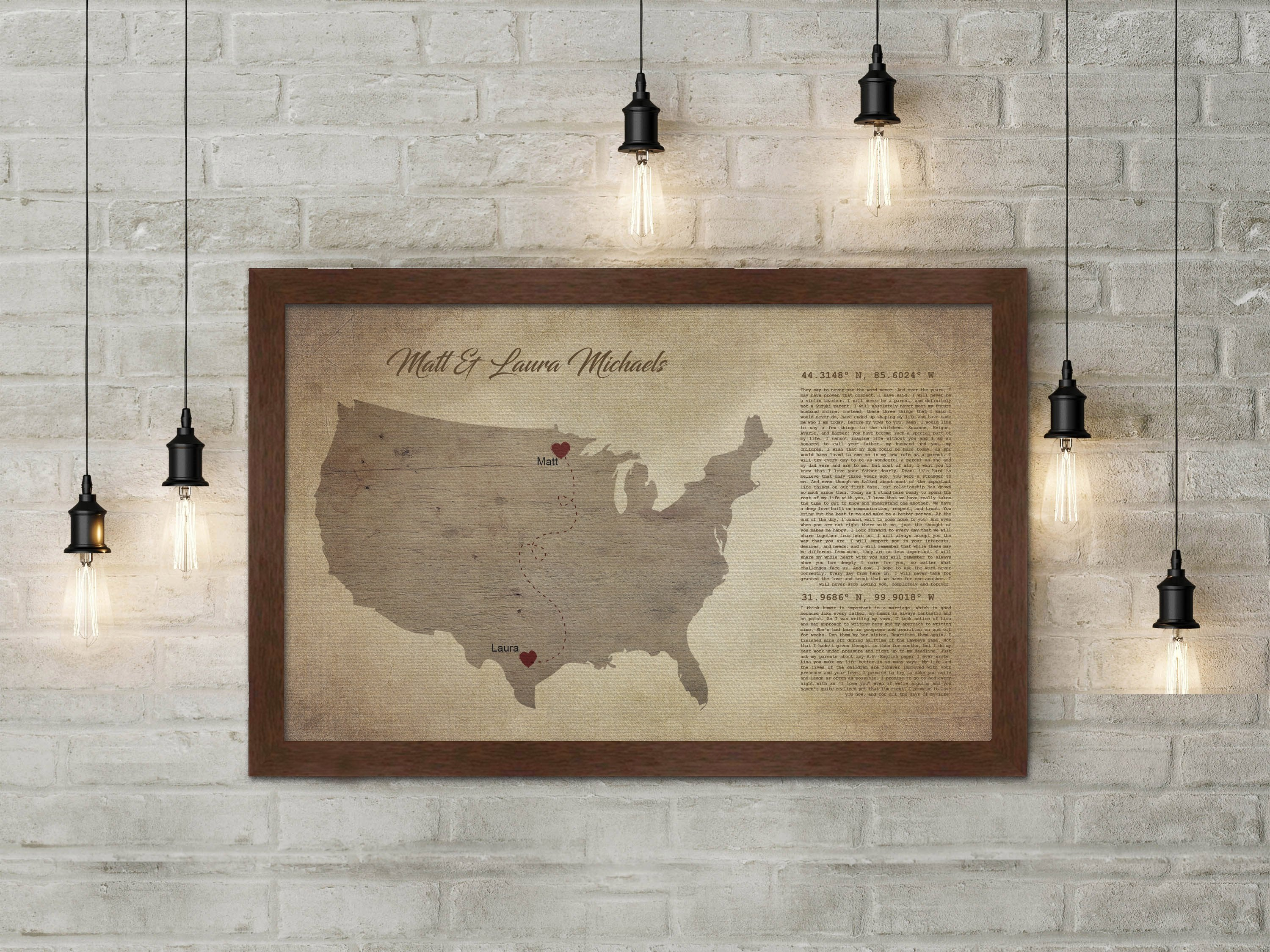 Long distance, map on canvas, Christmas, custom, coordinates, wedding vows,  print, husband, wife, anniversary gift, Military, Gifts, Spouse