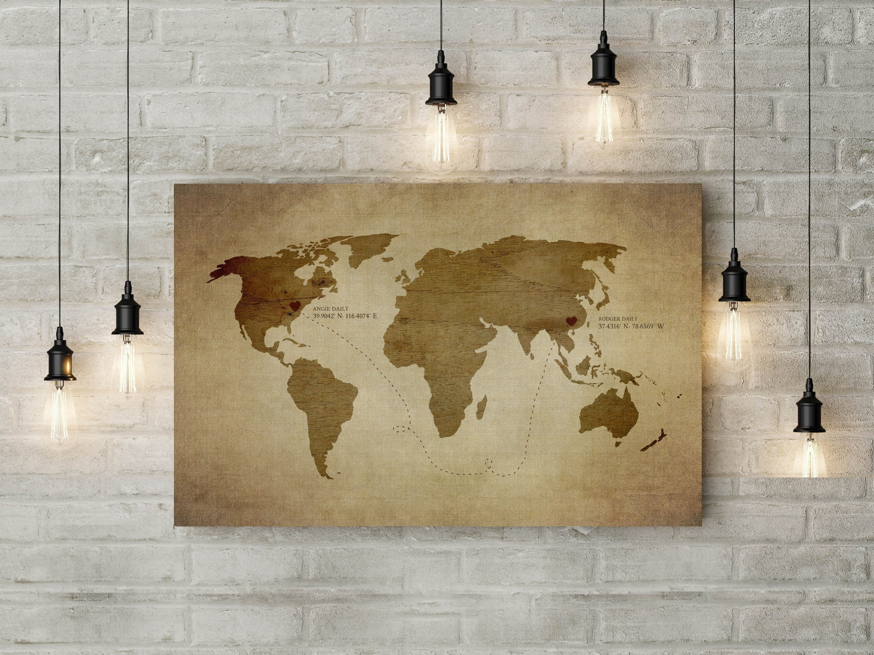 Long distance Relationship map, Rustic Decor, canvas, Christmas, custom, wedding gift, print, husband, wife, anniversary gift, Gifts, Spouse