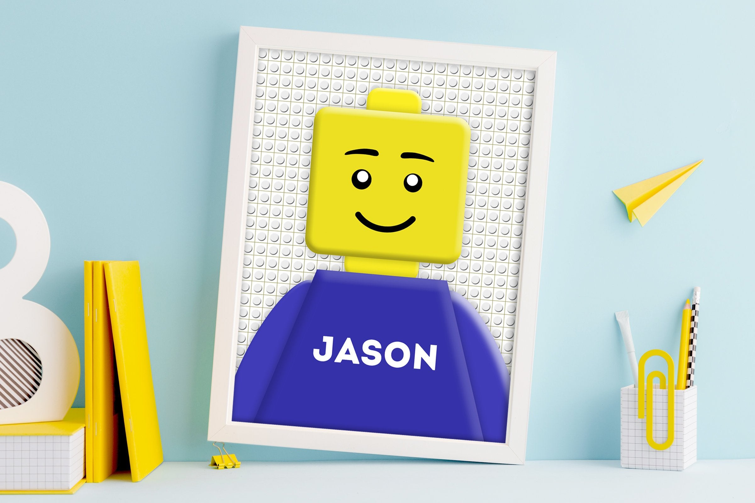 LEGO inspired, name art, Personalized Lego decor, Mini-figure, Prints, Children's art, Kids room, name, nursery, Personalized Name Prints